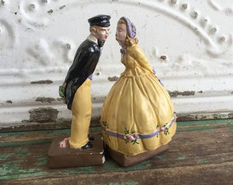 Vintage Victorian Kissing Couple Chalkware Figurines Yellow Floral
