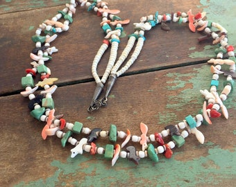 Vintage Zuni fetish necklace Silver Animals Squirrel,Bear Turquoise Coral Beads