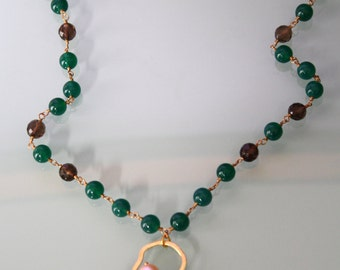 Long Green Agate and quartz necklace with Pendant