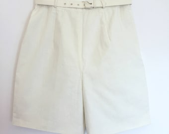 Ivory Raw Silk 1950s Shorts