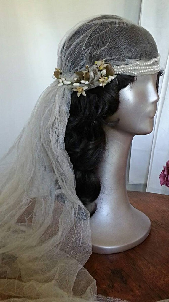 Vintage 1920's bridal veil headpiece waxed orange