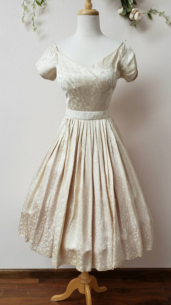 50's tea length cream vintage bridal dress