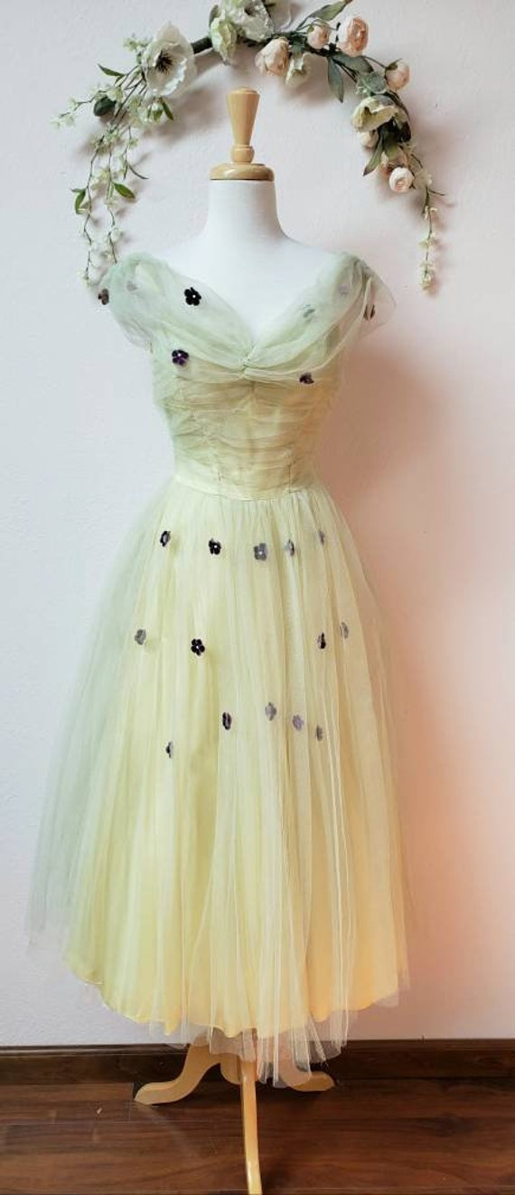 Vintage 50's spring green tulle dress bridal bride