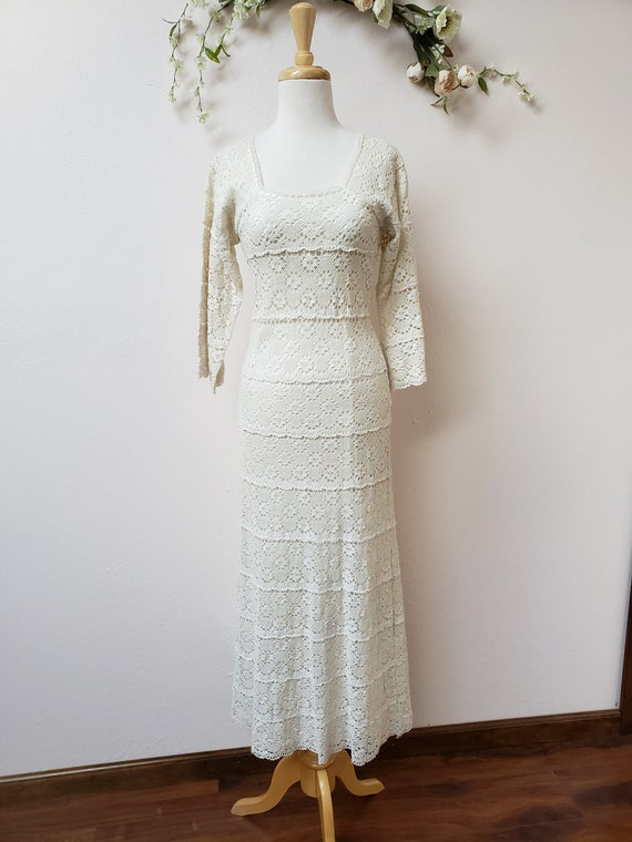 Vintage crochet maxi dress with bell sleeves