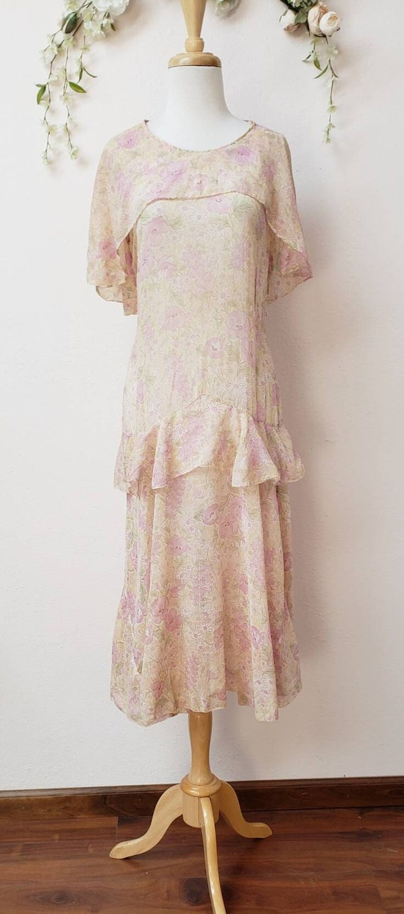 1920's floral dress Gatsby Deco vintage dress - image 1