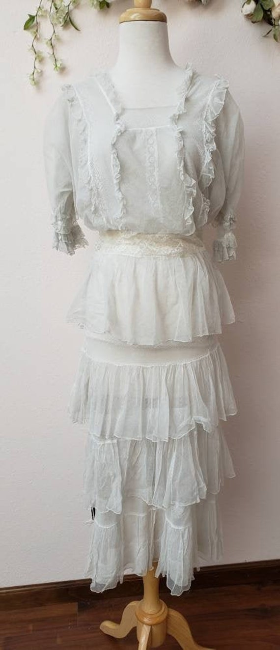 Edwardian net lace vintage bridal wedding dress