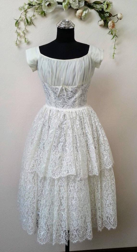 50's tea length lace vintage bridal dress
