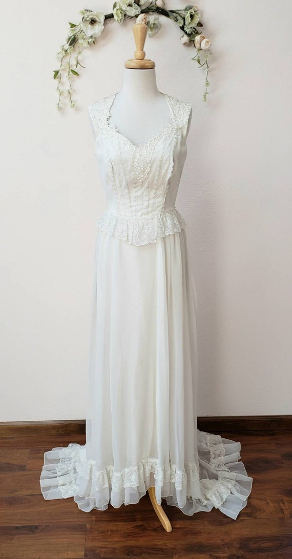 Vintage Bridal wedding 70's corset style gown