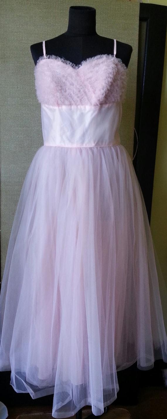Vintage 50's pink prom bridal bridesmaid dress