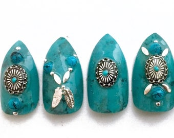 Turquoise and Silver Stiletto Nails | Stone Press On Nails | Marble Nails | Turquoise Acrylic Nails | Southwestern Style | Handpainted Nails
