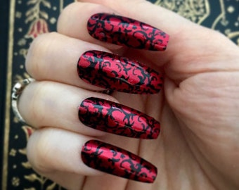 Red Gothic Baroque Square or Coffin Press On Nails | Red Purple Gothic Fake Nails | Vampire Fashion | Goth Lolita Cosplay | Gothic Nails