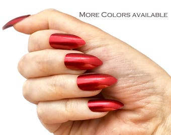 Metallic Stiletto Nails | Choice of Colors | Fake False Glue On Nails | Liquid Metal | Red, Purple, Silver, Gold Nails | Press On Stiletto