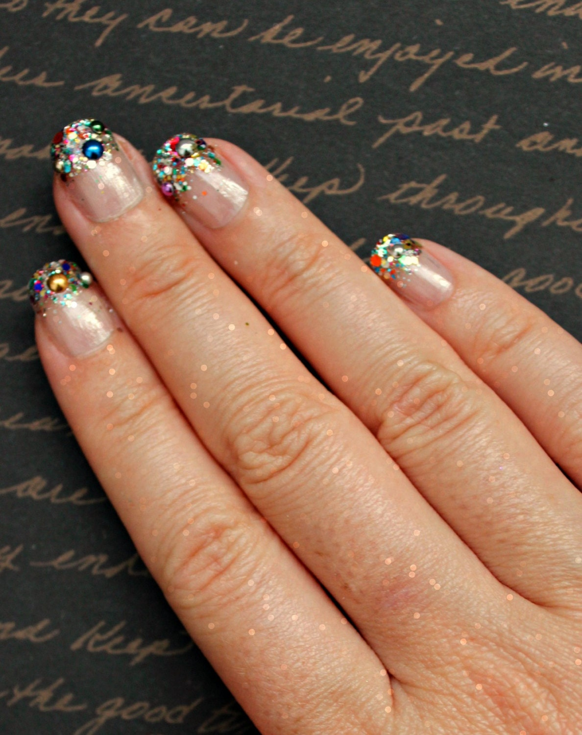 Rainbow Glitter Tip Fake Nails, Rainbow, Glitter, French Tip, Nail ...