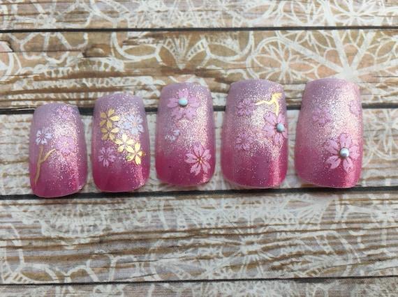 e8f559ca60b Stiletto or Square Sakura Ombre Nails Pink Glitter Gradation   Etsy