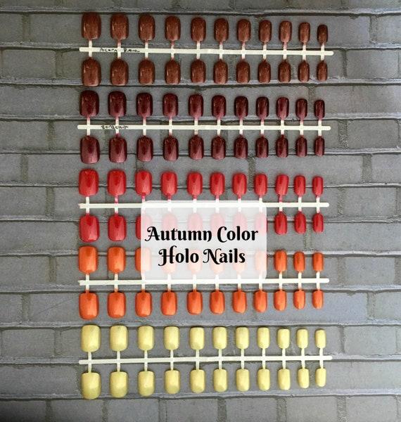 Fall Colors Holo Short Fake Nails