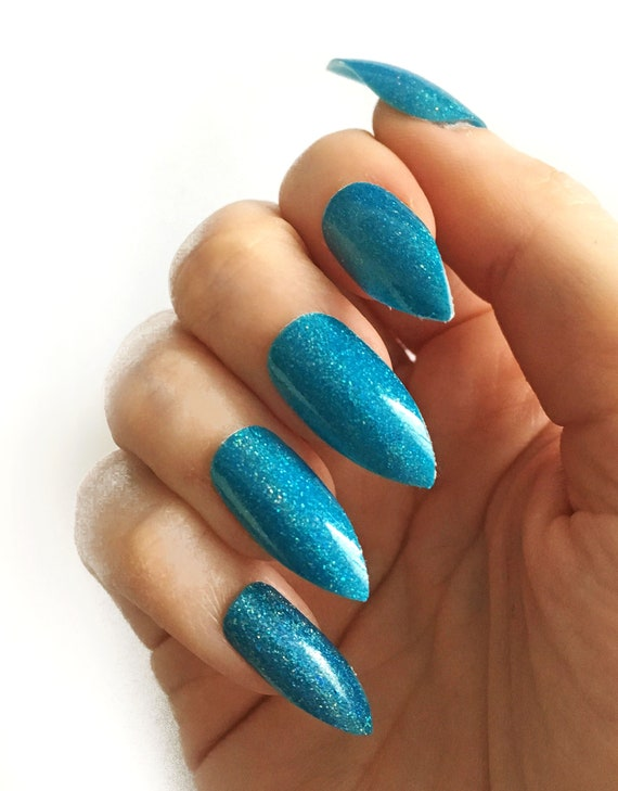 Aqua Blue Holo Coffin Stiletto Square Oval Nails Extra Long