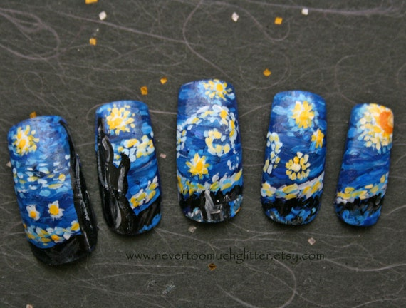 Starry Night Custom Artificial Nails Starry Night Fake Etsy