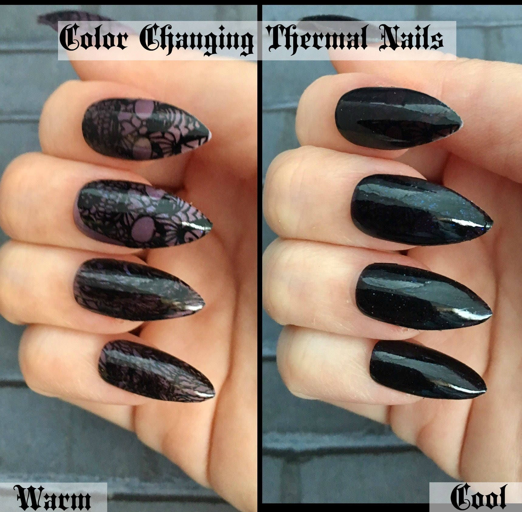 Undercover Skull Color Changing Stiletto Nails   Gothic Press On ...