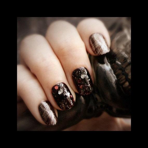 image 0 - Corvid Gothic Nail Art Short Fake Nails Feather Press On Etsy