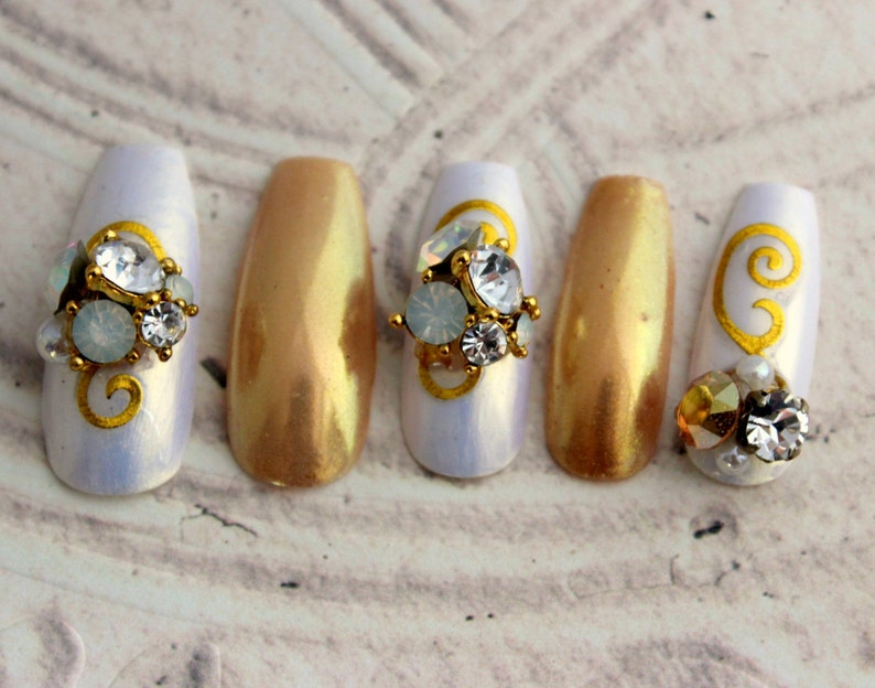 Deluxe White And Gold Jewel Nails Extra Long Fake Nails Etsy