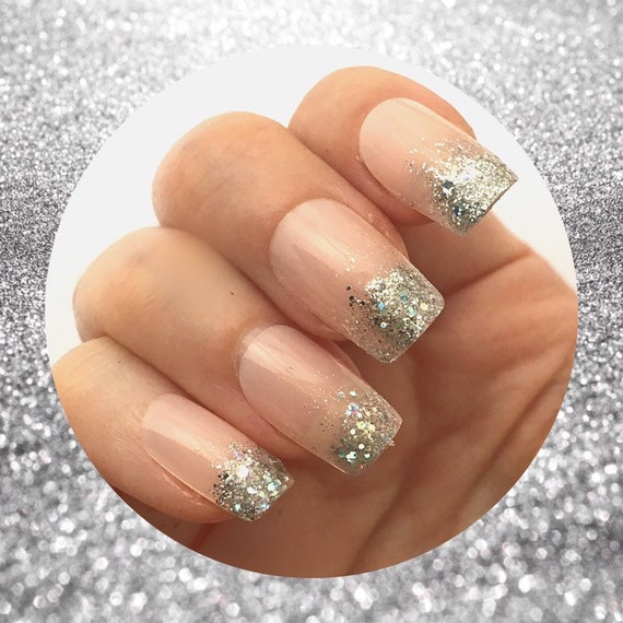 Glitter Ombre French Nails Glitter Dip Tip Fake False Nails Etsy