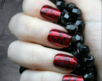 Japanese Nail Art- Red Gothic Baroque Press On Fake Nails, Goth, Gothic, Vampire, Halloween, False Nails Set, Fake Nails, Artificial Nails