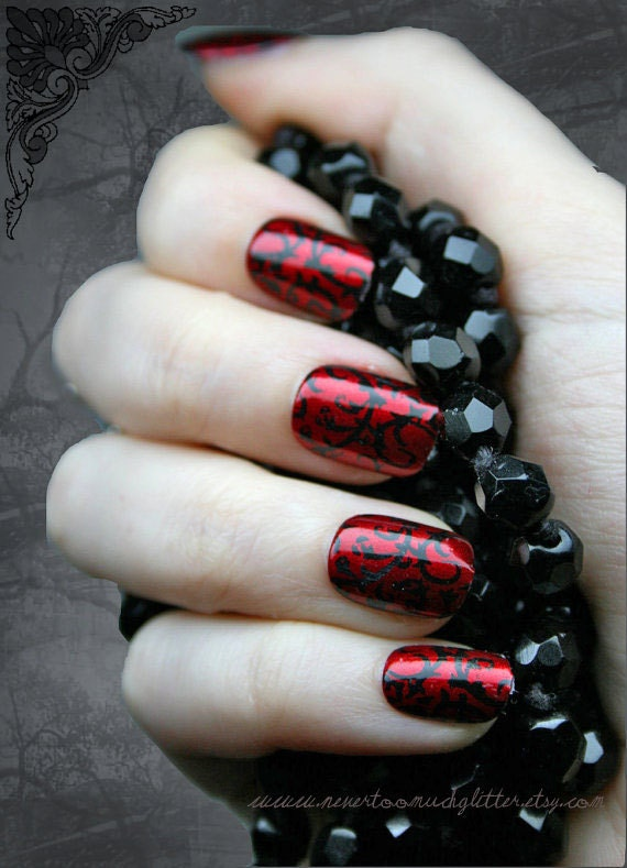 Japanese Nail Art Red Gothic Baroque Press On Fake Nails Etsy