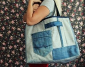 CLEARENCE SALE One of a kind- Large Denim Tote Bag