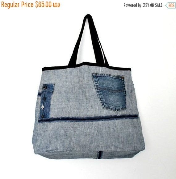 CLEARENCE SALE Large Tote Bag- No.9- Patchwork- Cotton-Jean d33a57fc62edc