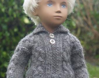 Sasha Gregor Doll Aran Sweater with Button Detail  Knitting Pattern