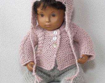 """Sasha 12"""" 13"""" Baby - Cable Outfit with Ear Flap Hat and Leggings Knitting Pattern"""
