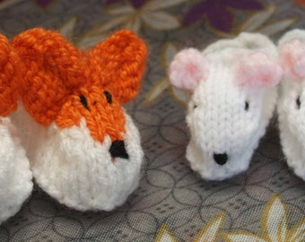 """Sasha 16""""  and Baby 12"""" Doll Fox and Mouse Slippers  Knitting Pattern"""