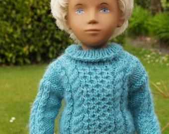 Sasha Gregor Doll Aran Sweater with Polo Neck  Knitting Pattern