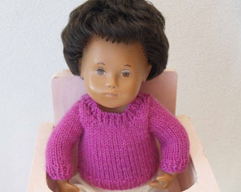 "Sasha 12"" 13"" Baby Doll Crew Neck Sweater Knitting Pattern"