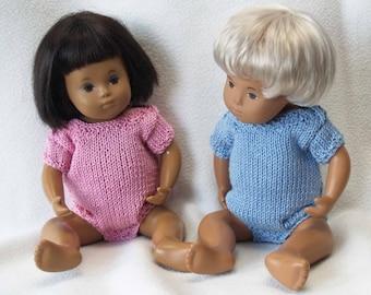 "Sasha 12"" 13"" Baby Doll Envelope Neck Vest or Body Suit Knitting Pattern"