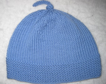 ade923b7328 Baby Beanie Hat Hand Knit Merino Hat with Top Knot Size 0 to 6 Months Free  US Shipping!