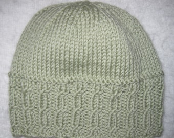 d91f5532fb4 Baby Beanie Hat Hand Knit Merino Cashmere Blend 0 to 6 Months Light Green  Free US Shipping!