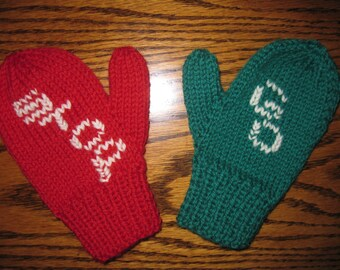 ORDER Hand Knit Mittens Toddler Mittens Red Green Stop and Go Wool Free US Shipping