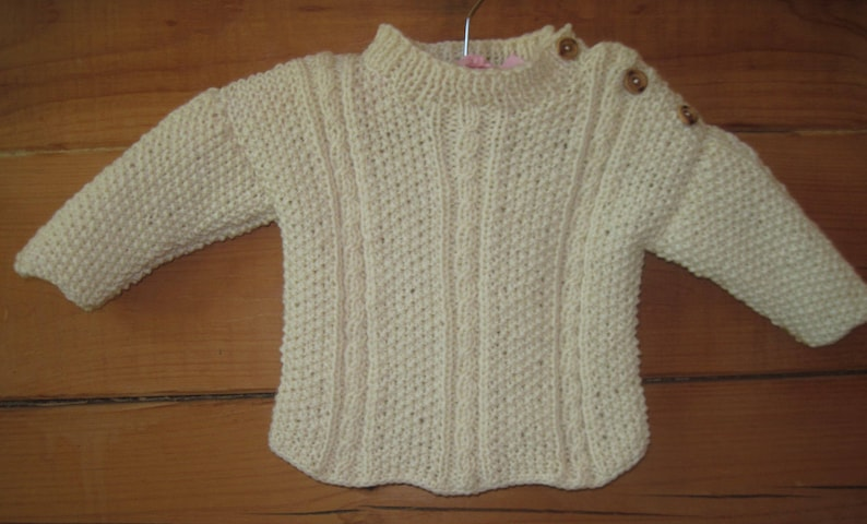 ORDER Hand Knit Baby Aran Sweater Pullover Natural Fisherman Wool Cable and Moss Stitch Baby Size 3 to 9 Months Free US Shipping