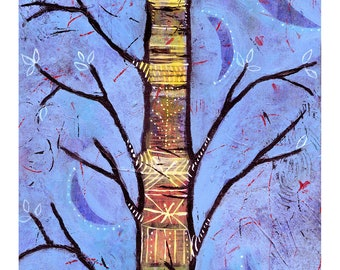 Whimsical Aspen Tree Art. Colorful Acrylic Painting Wall Decor. Blue and Yellow Tree Print for Framing. Livingroom Wall Art by Lindy Gaskill