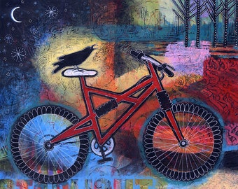 Whimsical Bicycle Wall Art. Colorful Bike Art. Bike Painting. Bicycle Print. Cycling Gift for Bicycle Rider. Raven Print. Lindy Gaskill