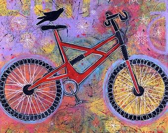 Whimsical Art, Gallery Wrap Canvas Print, Colorful Raven Bike Print, Art for Kids Room