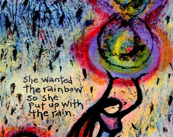 She Wanted the Rainbow Gift for Her. Inspirational Wall Art Quotes Print. Unique Gifts for Women. Gifts under 50.