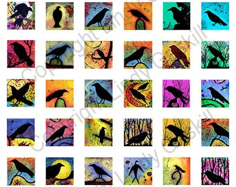 Blackbirds, Crows and Ravens Digital Collage Sheet, 42 1x1 inch Fine Art Print images, Download and Print