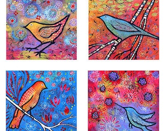 Set of 4 Canvas Bird Prints. Colorful Whimsical Bird Wall Art. Gallery Wrap Canvas. Small Bird Artwork. Bird Home Decor. Lindy Gaskill