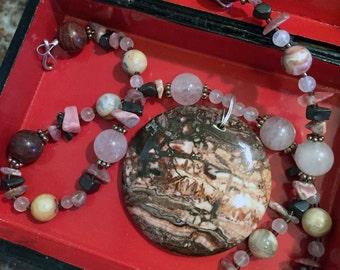 SHANGRI-LA Necklace (Crazy Lace Agate, Rose Quartz, Mookaite, Rhodonite, Hematite)