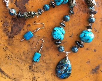 CLEOPATRA HILL Necklace + BONUS Earrings! (Blue Crazy Lace Agate, Black Moonstone, Smoky Quartz, Czech Crystal + Mystery Stones!)