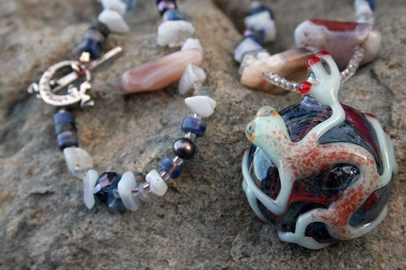 WHAT'S NEWT Necklace Lampwork glass Agate Labradorite image 0