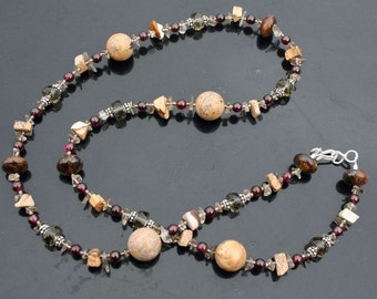 CASABLANCA Necklace (Garnet, Smoky Quartz, Bronzite, Picture Jasper)