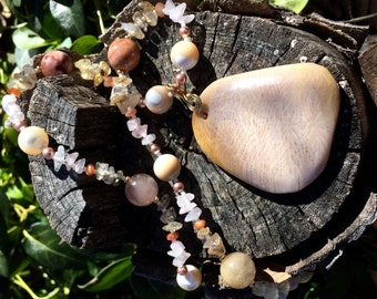 FIRST LIGHT Necklace (Fossil Coral, Mother of Pearl, Inclusion Quartz, Rose Quartz, Sunstone, Golden Rutilated Quartz, Swarovski Pearls)